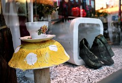 Tea and Mushrooms (Georgie_grrl) Tags: toronto ontario mushroom store shoes downtown boots showroom pentaxk1000 teacup queenstreetwest windowdisplay cans2s rikenon12828mm
