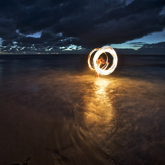 Fire & Water I (alexkess) Tags: ocean park morning light seascape lightpainting beach night painting fire photography early nikon long exposure flickr circles flames fineart sydney royal australia photoblog national nsw shire alexander juggling tobias sutherland dreamscape garie natio firepainting stockcategories flickrexportdemo d700 alexkess kesselaar afsnikkor1735mmf28difed lightpainters huenlich