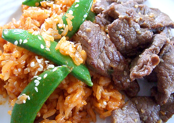 Marinated beef and spicy fried rice