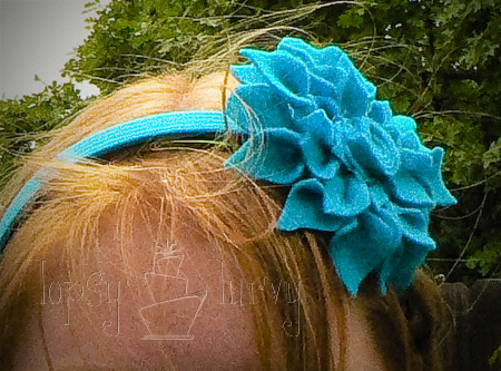 rainbow garden birthday party felt flower craft headband teal