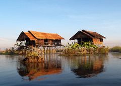 Floating houses on Inya lake (isabelle janmaat) Tags: houses lake floating myanmar inay