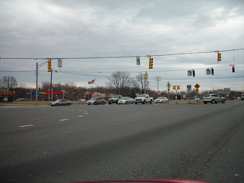 huge intersection with no pedestrian provisions in Bowie, MD (by: Cheryl Cort)