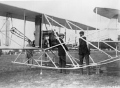 Orville Wright with Army Lieutenant Frank Lahm, in seat, and Lieutenant Benjamin Foulois (right) during final tests on Army Airplane #1, Ft. Myer, Virginia, July 1909. (La Guardia and Wagner Archives) Tags: aviation laguardia fiorellolaguardia fiorello orvillewright thelittleflower mayorlaguardia benjaminfoulois