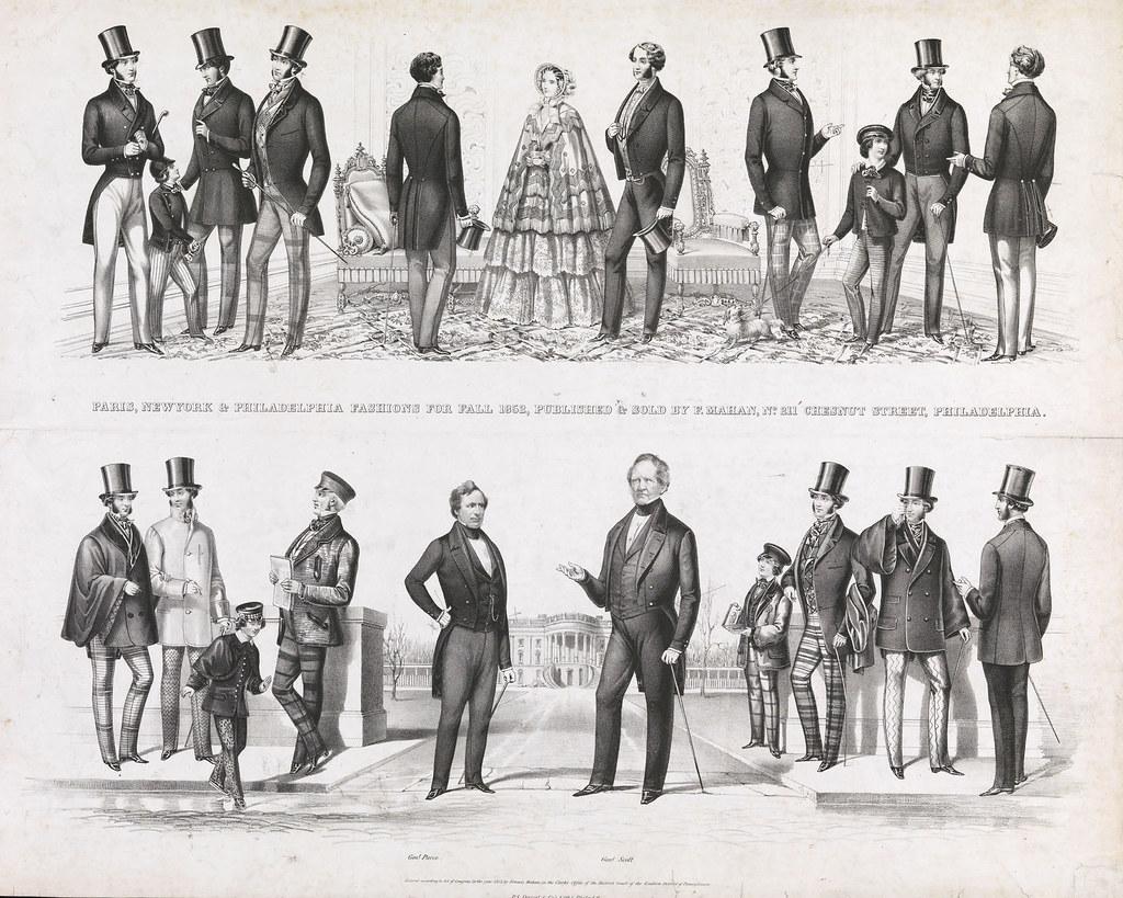 Paris, New York & Philadelphia fashions for fall 1852, published and sold by F. Mahan, no. 211 Chesnut Street, Philadelphia, c1852.