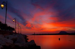Long Exposure Sunset @ 15'' (Ilias Orfanos) Tags: longexposure sunset red sea clouds landscape olympus greece lamps patras lampposts thegalaxy hoyand4 hoyand8 saariyqualitypictures mygearandmepremium mygearandmebronze