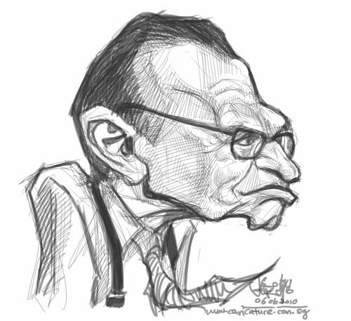 digital sketch of Larry King - 4 smaller