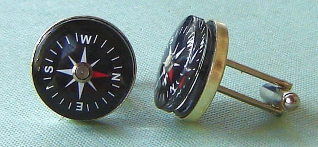 compass cuff links by Sherry Fruit Studios Etsy