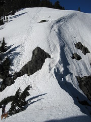 Steep snow pitch.