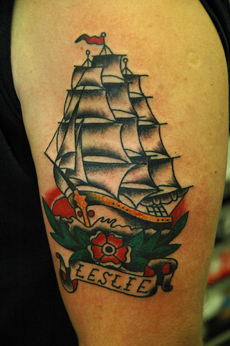 Sail Ship Tattoo by KeelHauled Mike Black Anchor Denton Maryland Tattoo by