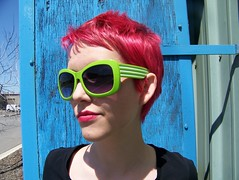 sweet shades of green. (cellophane.Flower) Tags: pink blue red green sunglasses hair mac bright cut limegreen shades pixie panic short dye janell pillarbox manic