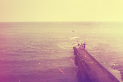 19-06-10 I Would Do It All Again The Same ~ Explored Front Page :) (ethan) Tags: ocean family sea sky people brick film beach wall vintage lens 50mm prime focus explore manual pentacon f18 frontpage causeway breakwater