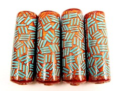 Copper and Turquoise Basketweave Cylinder Beads