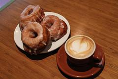 Dynamo Donuts (pkingDesign) Tags: food 35mm dof donut cappuccino dynamo dopplr:eat=6b81 dayoffood