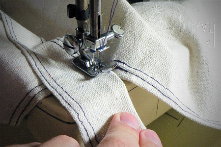 canvas satchel tutorial sewing sides at top flap