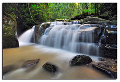 Hidden Waterfall (Nora Carol) Tags: waterfall rainforest atmosphere jungle slowshutter canopy sabah inanam malaysianphotographer northborneo noracarol sabahanphotographer kionsomwaterfall landscapephotographerfromsabah womanlandscapephotographer womaninphotography