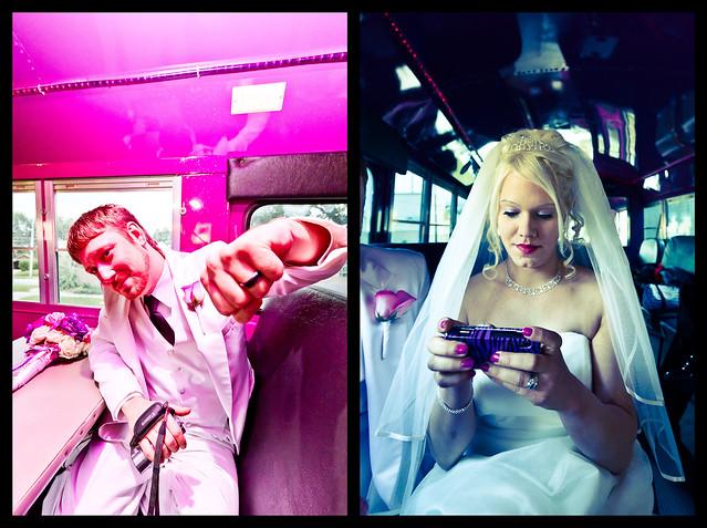travel pink wedding party white bus composite groom bride gimp ring smartphone inside client tux