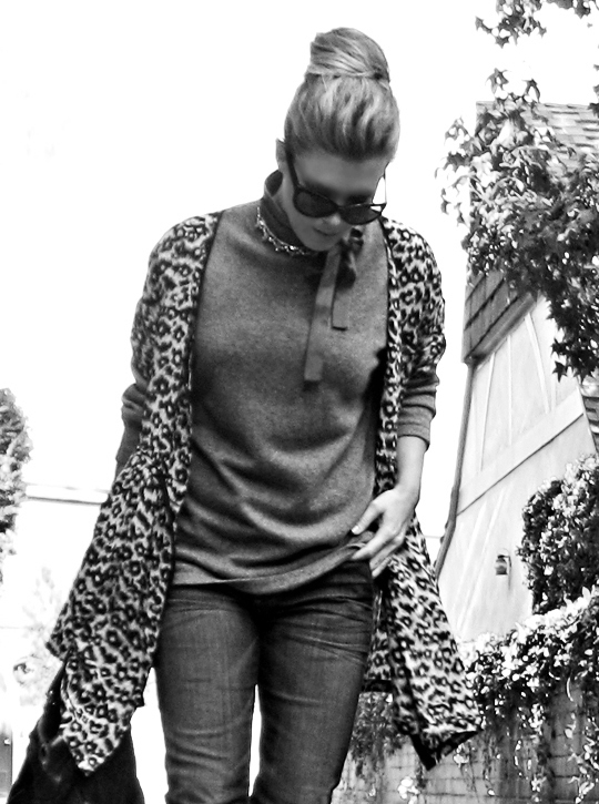 jeans and sweater with leopard dress jacket over+black and white