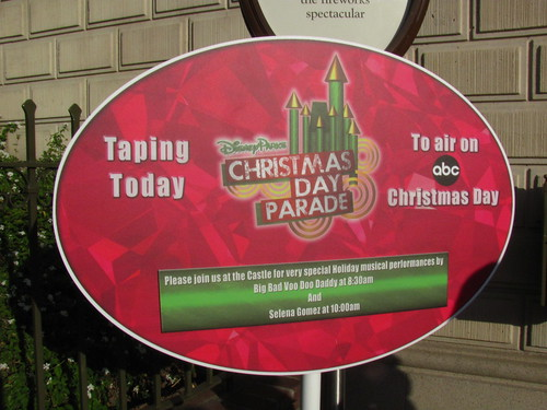 Disney Parks Christmas Day Parade Taping Signs
