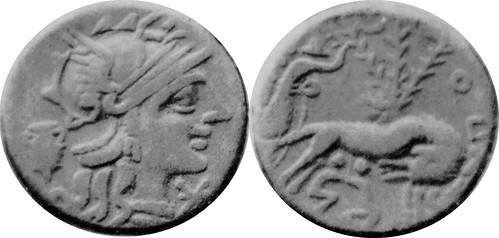 235-1 plated denarius of Sextus Pompeius Fostulus with irregular types - odd obverse jar shape, star instead of X
