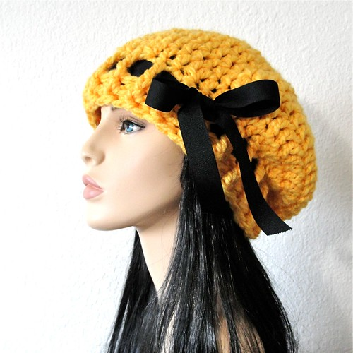 535c34779d4 Sunflower Yellow Crochet Beret Slouchy Hat with Black Grosgrain Ribbon Bow  by kanokwalee on etsy