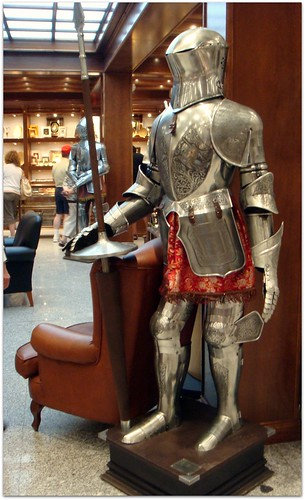 suit of armor knight. A suit of armor weighed