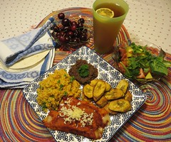 Cheese Anchiladas with rice, refried beans and fried plantain. (Traveling with Simone) Tags: anchiladas beans plantain cheese vegetarian meal lunch dinner mexican californian food savory icetea drink boisson vegetable cherries cerises fruit légumes salad salade tortillas