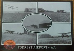 Forrest Airport WA - Postcard (InTheBush*) Tags: hangar aviation forrest tar railway historical postcard