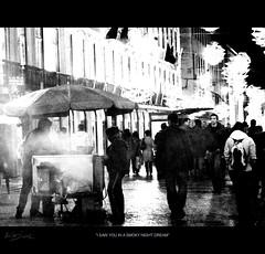 I saw you in a smoky night dream (Maricruz Suarez - Photography ) Tags: street portugal night photography lights walk lisboa lisbon smoke dream explore chestnuts smoky chirstmas unexpected suarez maricruz mariacruz ilustrarportugal maricruzsurez