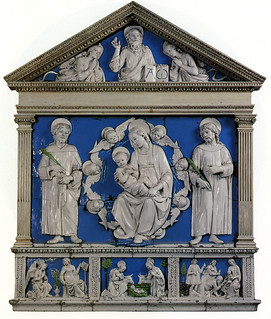 Andrea della Robbia. Madonna col Bambino tra i SS. Cosma e Damiano, 1466, Firenze, Badia Fiesolana