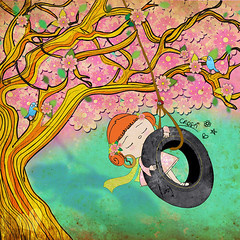 ease my worries (crosti) Tags: calendar 2010 collectors item numbered art illustration collage mixedmedia cool illustrator christina tsevis crosti chloe red haired girl tire swing tree almond blossom cherry happysad sad melancholy mellon collie