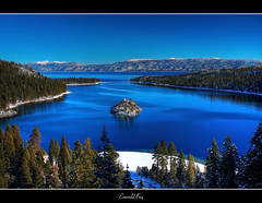 Emerald Bay (the_tahoe_guy) Tags: california travel pink blue trees wallpaper vacation favorite usa lake snow mountains water beautiful canon island photography eos bay photo interesting colorful earth weekend creative commons laketahoe creativecommons emerald highsierra emeraldbay mustsee ttv 40d thetahoeguy