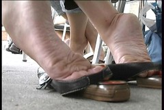 Wow, Scrunched soles to enjoy! (RoughToughSoleMan) Tags: girls woman feet female fetish walking foot shoe high women toes play candid bare dry arches dirty barefoot heels heel rough filthy tough soles dangling cracked dipping popping calloused scrunching