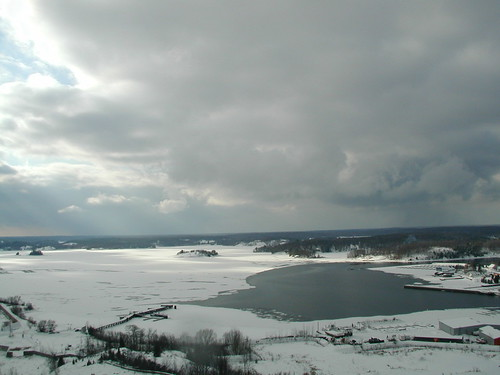 parry sound bay view - winter from the fire tower
