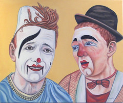 Vintage Circus Clowns - Oil on Canvas (artwork by, Sun Studio) Tags: life family carnival flowers houses costumes boy sunset moon southwest color art beautiful face composition contrast pencil portraits sunrise buildings painting studio landscapes big still artwork eyes ruins scenery rocks colorful paint gallery order dancers faces jester photos circus wildlife rustic fine paintings arcade hats drawings brush lips 66 historic retro canvas route spanish vision masks adobe oil ambient characters indians dianne teepee custom clowns striking missions figures bobs curios genie evangelista classes kachina artsunstudio