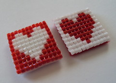Handwoven Glass Bead Magnets (fivefootfury) Tags: housewares magnet kitchen office beaded valentinesday hearts love redandwhite beadweaving magnets homedecor redheart