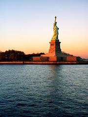 Liberty Island (Future Impaired) Tags: sunset newyork mediumformat office statueofliberty libertyisland kodakportra160nc mamiya645af