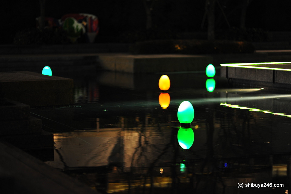 Lanterns in the water.