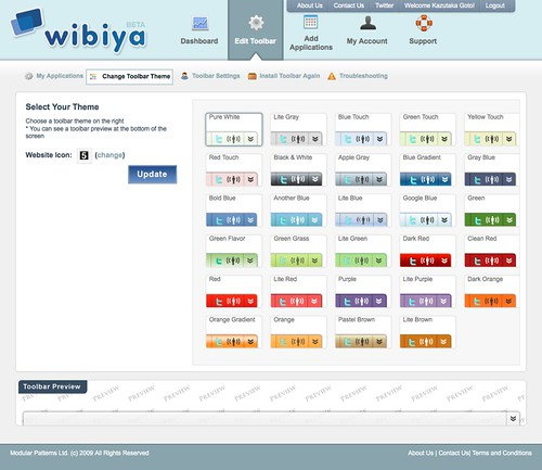 Wibiya  Edit Theme Selection