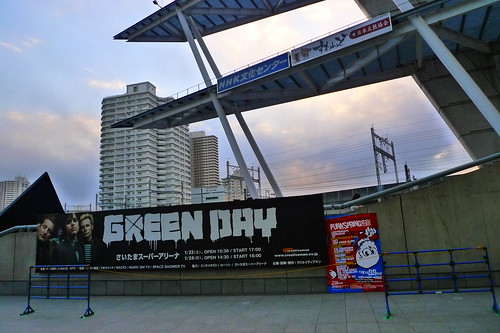 Green Day poster at Saitama Super arena