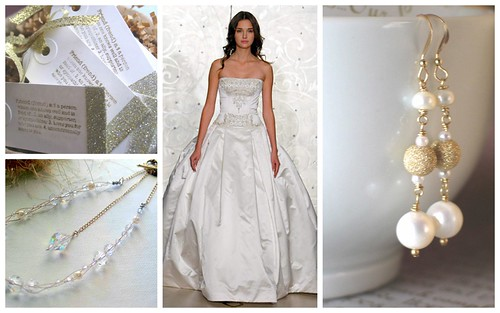 Classic Bridal Style Pearl Gold Touches Dress Reem Acra