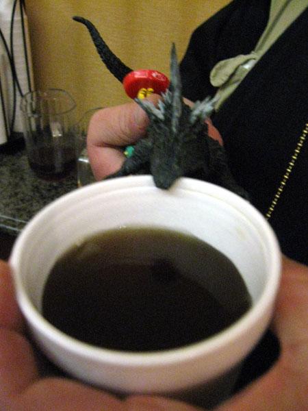 Tea-Drinking Godzilla (Click to enlarge)