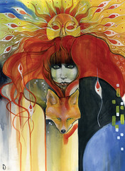 Vali (Patricia Ariel) Tags: red wild portrait sun abstract art nature watercolor painting hair freedom colorful artist witch mixedmedia wildlife surreal fox personalities gypsy graphite acrylics valimyers patriciaariel
