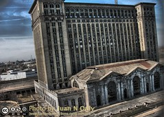 Michigan Central Station [A630-1188HDR] (Juan N Only) Tags: abandoned architecture michigan urbandecay detroit historic trainstation april kap 2009 aerialphotography hdr mcs kiteaerialphotography michigancentralstation detroitruins michigancentraldepot tonemapped tonemapping pseudohdr juannonly
