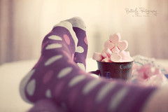 Marshmallow LoVe.... (Kimberly Chorney) Tags: pink love socks hearts yummy purple polkadots marshmallow mug cocoa kneehigh sweettreats