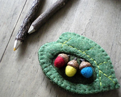 mother nature's palette (lilfishstudios) Tags: blue red green wool yellow leaf recycled handmade sewing craft felt acorns lilfishstudios feltedwoolsweater woolacorns