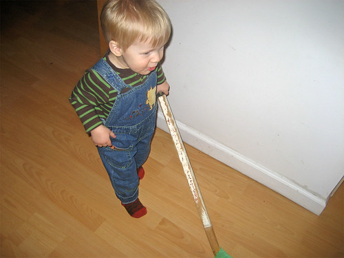 Jacob tries his dad's old hockey stick