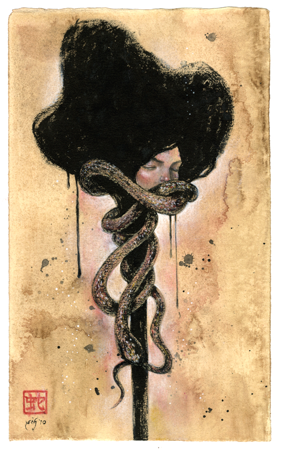"Ouroboros. 7""x11.5"". Ink, Acrylic & Pastel on Paper. © 2010."