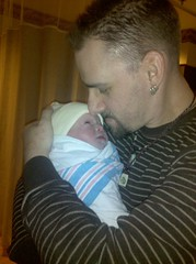 The new daddy... my two perfect boys!