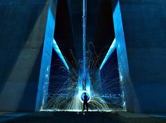 Bridge Works (MUG MAN) Tags: blue loo lightpainting rain cat fire wind australia melbourne wb pools mug ate sparks thedog boltebridge manunderground melbournelightpainter lightpaintingmelbourne
