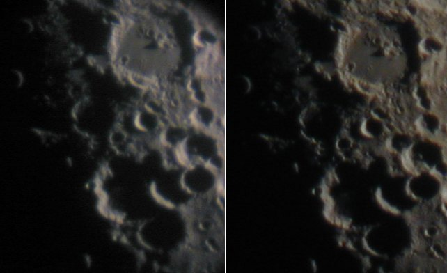 Short focal length eyepiece on left, long f.l. on right